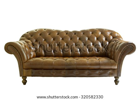Vintage style  leather sofa isolated on white. Clipping path. - stock photo