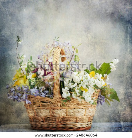 Vintage style, mixed flowers, spring flowers, greeting card for mothers day - stock photo