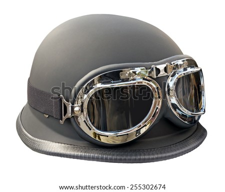 Vintage style motorbike helmet with glasses isolated on white. Clipping path included. - stock photo