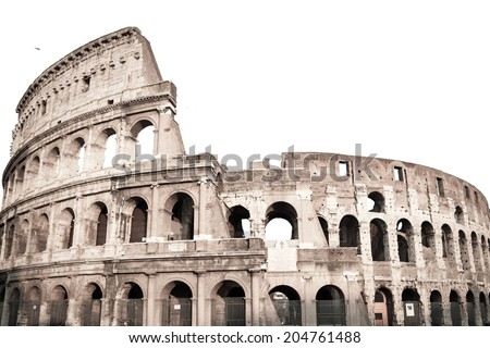 Vintage style of Colosseum in Rome, Italy isolated on white background