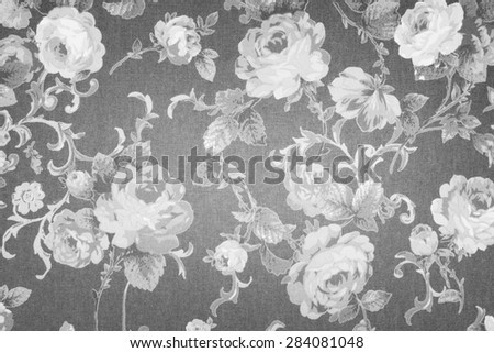 vintage style of tapestry flowers fabric pattern grey background - stock photo