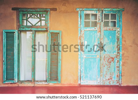 Vintage Style Old House Interior Door And Windows. Indian Building Exterior.