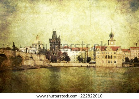 Vintage style panorama of old Prague, Czech Republic - stock photo