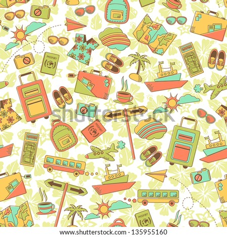vintage style pattern with travel symbols (vector available in my gallery) - stock photo