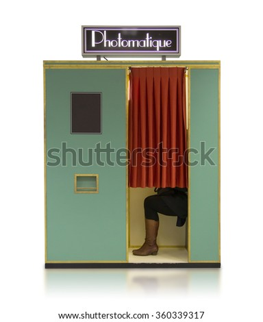 Vintage style photo booth vending machine on a white background with clipping path