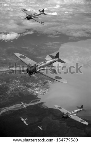 Vintage 'style' photo depicting Japanese WWII aircraft flying over the village of Lae in Papua New Guniea. (Artist's Impression/recreation) - stock photo