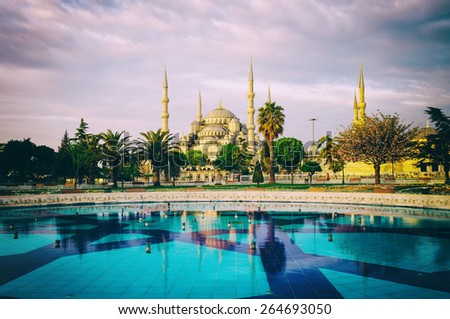 Vintage style photo of Sultanahmet Blue Mosque, Istanbul, Turkey - stock photo