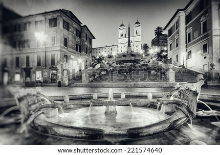 Vintage style photograph of the Spanish Steps in  Rome - Italy. ( Grain, dirt and scratches added in post process.) - stock photo