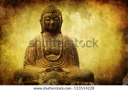 vintage style picture of a sitting Buddha on an attractive grunge background - stock photo