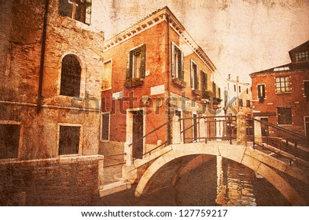 vintage style picture of a Venetian bridge