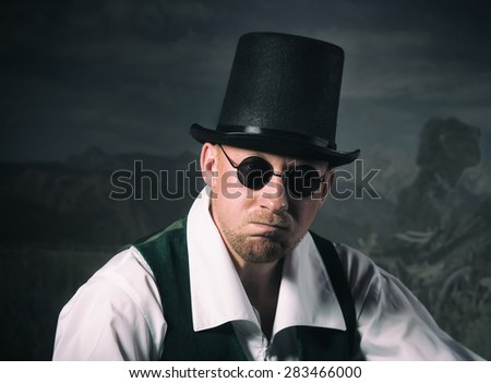 Vintage style portrait of a man in a top hat - stock photo