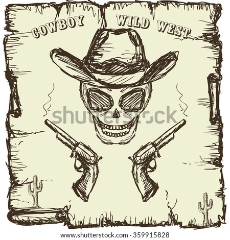 Vintage style poster with  skull, revolvers and text. Hand drawing - stock photo