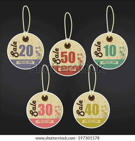 Vintage Style Sale Tags Design 10 - 50 Percent OFF Sale Price Tag Isolated On Black Background. - stock photo