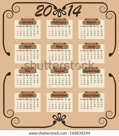 Vintage style sunday start calendar illustration with swirl and brown labels.