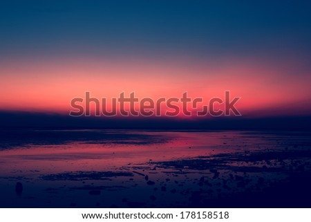 Vintage style sunset and beach sky for background, use filtered images - stock photo