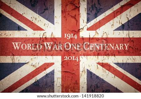 Vintage style Union Jack to commemorate the Centenary of World War One, 1914 - 2014 - stock photo