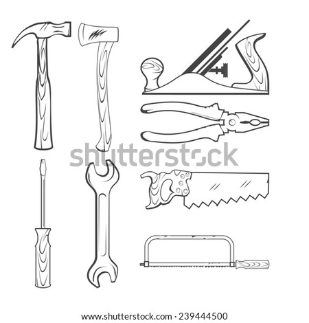 Vintage Style Vector Saw, Hammer, Wrench and other Hand Tools for Construction - stock photo