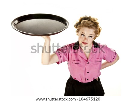 Vintage style waitress or female server with serving platter photographed from above isolated on white. - stock photo