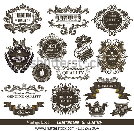 Vintage Styled Premium Quality and Satisfaction Guarantee Label. - stock photo