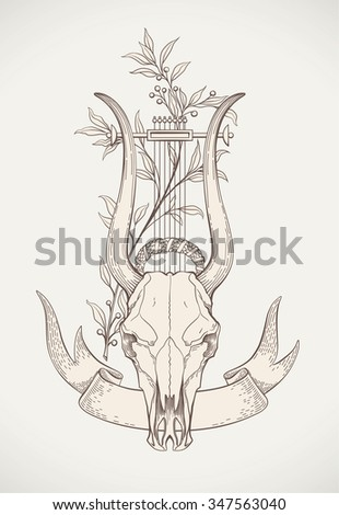 Vintage styled print design with a lyre-horn animal skull. Raster image. - stock photo