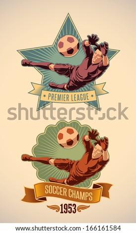 Vintage-styled soccer championship label including an image of goalkeeper. Raster illustration. - stock photo
