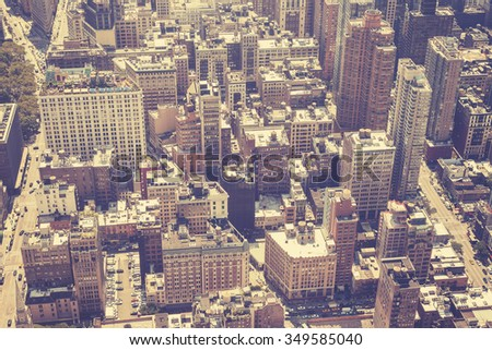 Vintage stylized aerial picture of Manhattan, New York, USA - stock photo