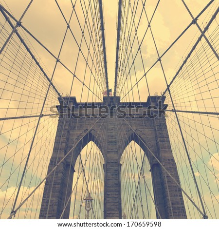 Vintage stylized closeup photo of Brooklyn Bridge, New York City - stock photo