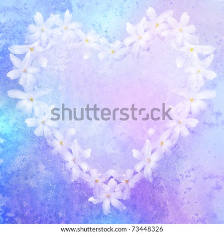 vintage stylized floral heart with patina texture, background for your text - stock photo