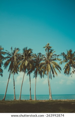 Vintage stylized palm trees on summer tropical shore - stock photo
