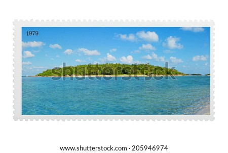 Vintage stylized postage stamp with tropical island on horizon - stock photo