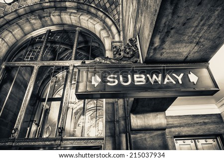 Vintage subway sign in Manhattan, New York City. - stock photo