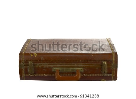 Vintage suit case isolated on white - stock photo