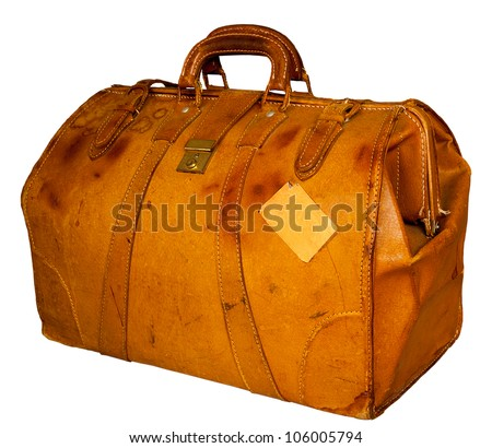 Vintage suitcase filled with sticker Lufthansa - stock photo