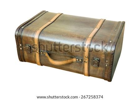 Vintage suitcase isolate on white background - stock photo