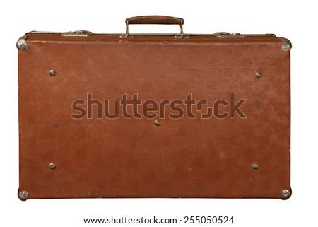 Vintage suitcase isolated on white background - stock photo
