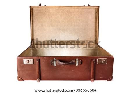 Vintage Suitcase lighting inside,  isolated on white background - stock photo