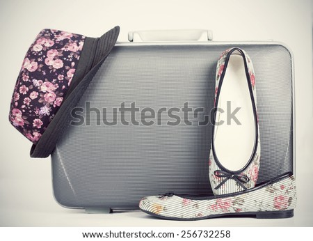 Vintage suitcase, shoes and hat with retro effect - stock photo