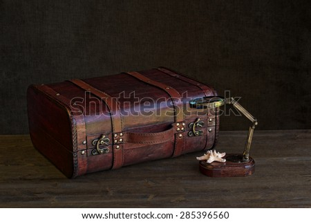 vintage suitcase with magnifying glass - stock photo