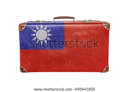 Vintage suitcase with Taiwan flag - stock photo