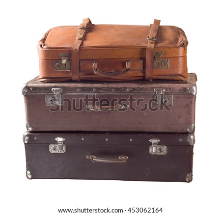 Vintage suitcases isolated.