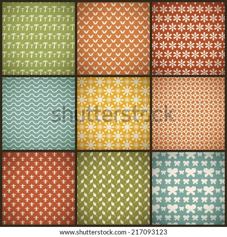 Vintage summer seamless patterns (with swath, tiling). Retro red, blue, green, yellow shabby colors. Endless texture can be used for printing onto fabric, paper, scrap booking. Abstract shape.