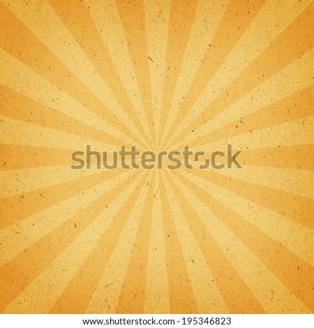 Vintage Sunburst Pattern. Radial background made of yellow and orange recycled paper