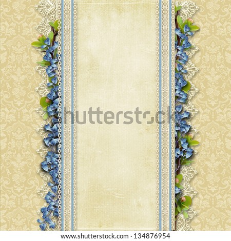 Vintage superb background  with lace and blue flowers - stock photo