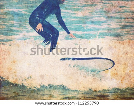 vintage surf background with rider - stock photo