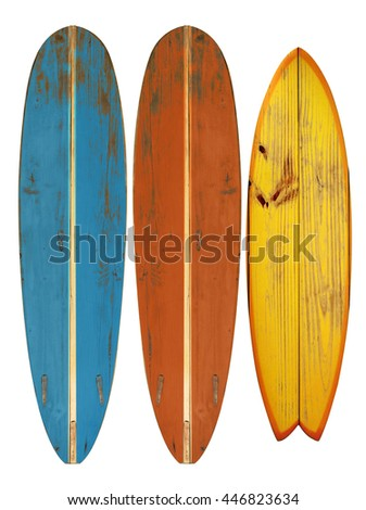 Vintage surfboard isolated on white - Retro styles 60's  - stock photo