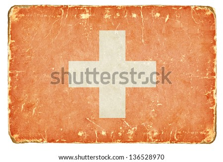 Vintage Swiss flag. - stock photo