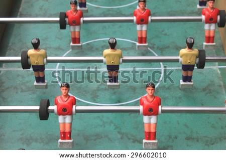 vintage table football closeup, foosball - stock photo