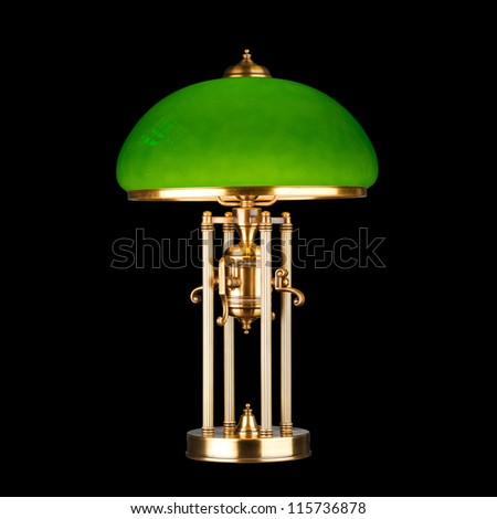 vintage table lamp isolated on black with clipping path - stock photo