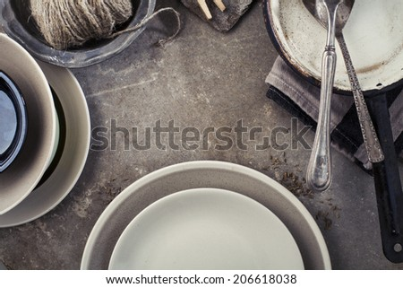 Vintage tableware, cutlery on grey stone backround - stock photo