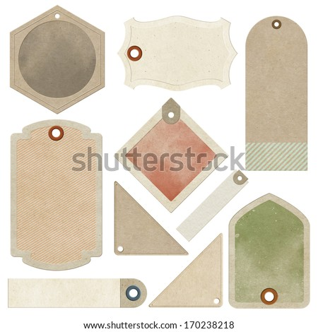 Vintage tags collection. Isolated on white background - stock photo